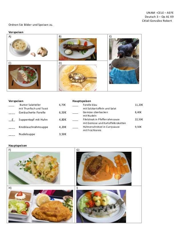 UNAM –CELE – AEFE Deutsch 3 – Op A1 K9 Citlali González Robert Ordnen Sie Bilder und Speisen zu. Vorspeisen A) B) E) C) D)...