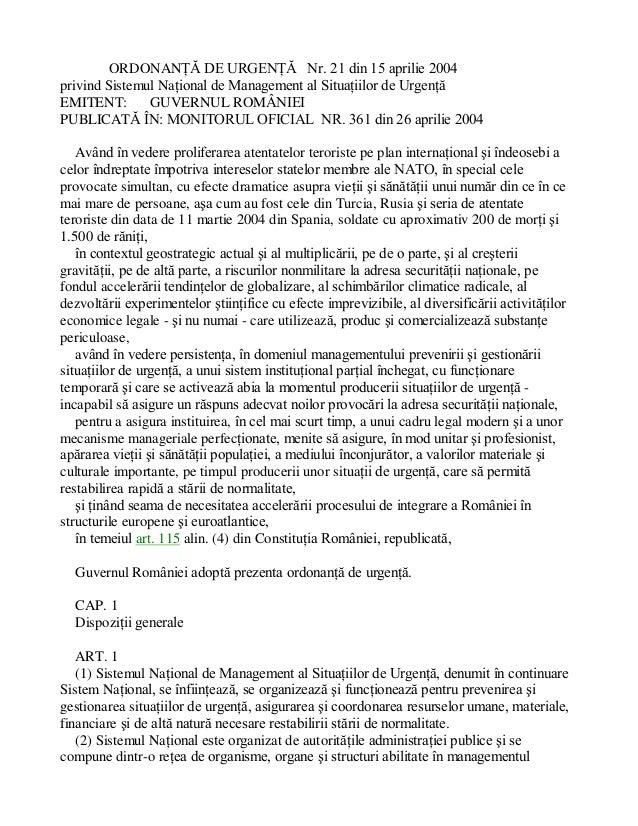 ORDONANÞÃ DE URGENÞÃ Nr. 21 din 15 aprilie 2004 privind Sistemul Naþional de Management al Situaþiilor de Urgenþã EMITENT:...