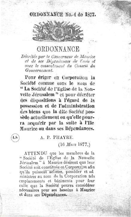 Ordonnance decretee-par-le-gouverneur-de-maurice-pour eriger-en-corporation-la-societe-de-l'eglise-de-la-nouvelle-jerusale...
