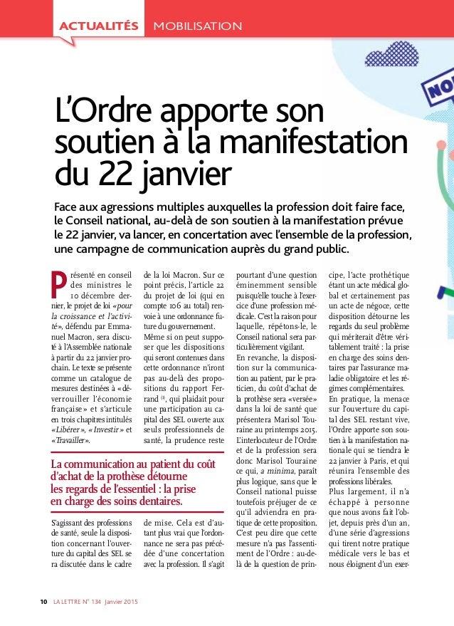 LA LETTRE NO 134 Janvier201510 Présenté en conseil des ministres le 10décembre der- nier, le projet de loi «pour la cr...