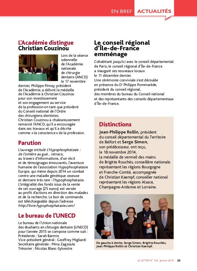 LA LETTRE NO 134 Janvier2015 25 ACTUALITÉSEN BREF L'Académie distingue Christian Couzinou Lors de la séance solennelle d...