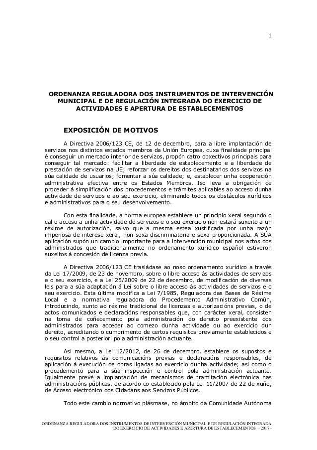 1 ORDENANZA REGULADORA DOS INSTRUMENTOS DE INTERVENCIÓN MUNICIPAL E DE REGULACIÓN INTEGRADA DO EXERCICIO DE ACTIVIDADES E ...