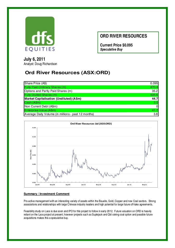 ORD RIVER RESOURCES                                                                               Current Price $0.095    ...