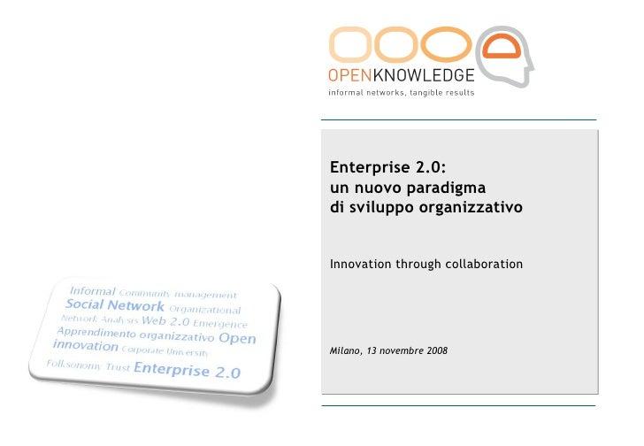 Enterprise 2.0: un nuovo paradigma  di sviluppo organizzativo Innovation through collaboration Milano, 13 novembre 2008