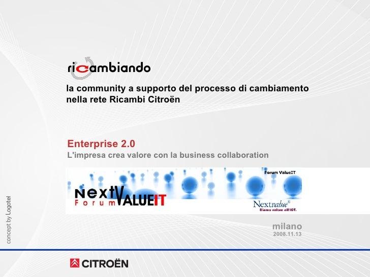 la community a supporto del processo di cambiamento nella rete Ricambi Citroën Enterprise 2.0 L'impresa crea valore con la...
