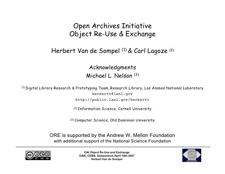 Open Archives Initiative                             Object Re-Use & Exchange                     Herbert Van de Sompel (1...