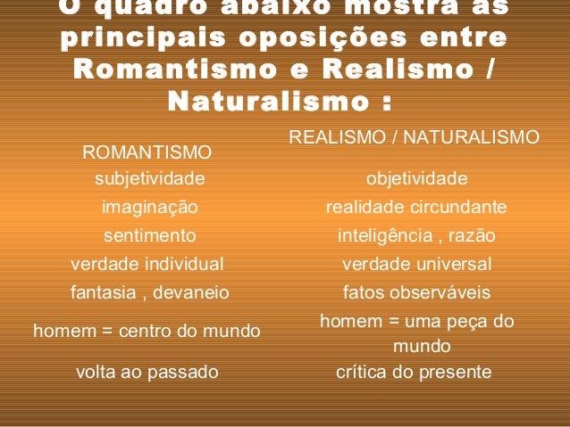 O quadro abaixo mostra as principais oposições entre Romantismo e Realismo / Naturalismo : ROMANTISMO REALISMO / NATURAL...