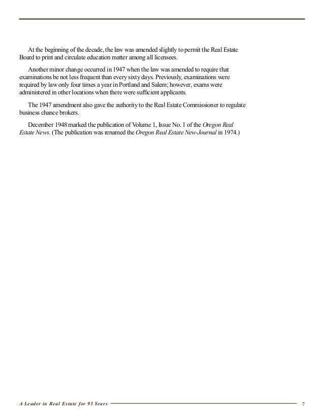 Oregon Real Estate Broker License : Oregon real estate history
