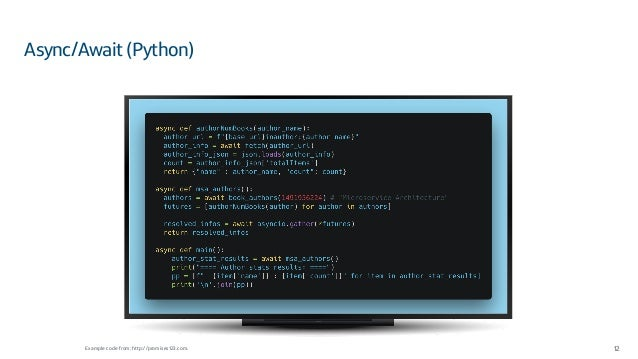 Async/Await (Python) 12Example code from: http://promises123.com.