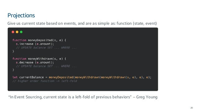 """Projections 28 Give us current state based on events, and are as simple as: function (state, event) """"In Event Sourcing, cu..."""