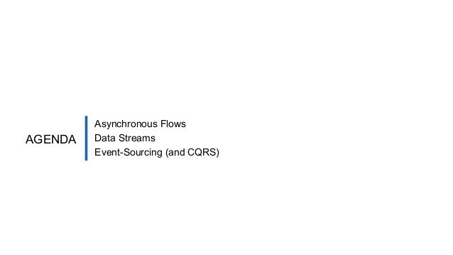 Asynchronous Flows Data Streams Event-Sourcing (and CQRS) AGENDA