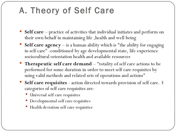 dorothea orem theory of self care essay