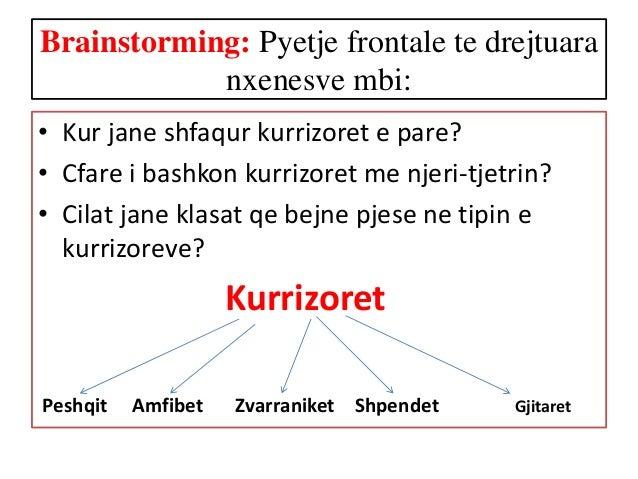 Brainstorming: Pyetje frontale te drejtuara nxenesve mbi: • Kur jane shfaqur kurrizoret e pare? • Cfare i bashkon kurrizor...