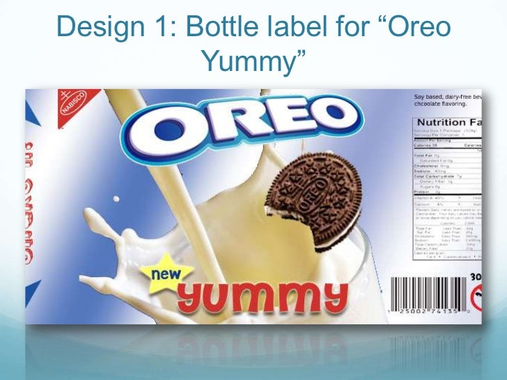 "Design 1: Bottle label for ""Oreo Yummy""<br />"