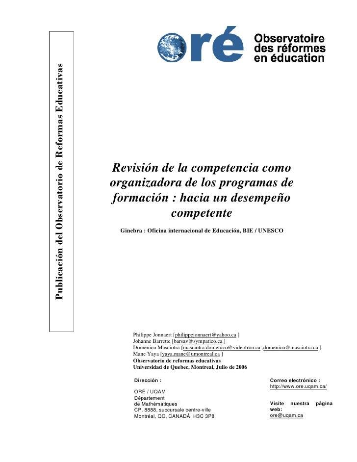 Publicación del Observatorio de Reformas Educativas                                                      Revisión de la co...