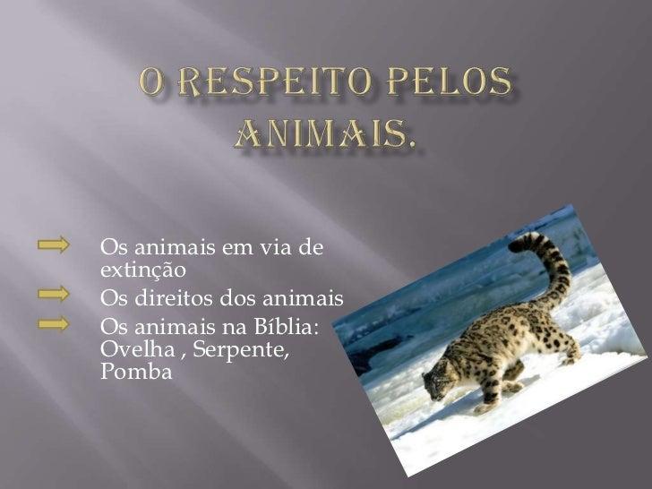 O respeito pelos animais.<br />Os animais em via de       extinção<br />         Os direitos dos animais<br />Os anima...