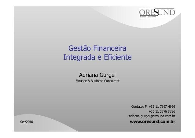 Gestão Financeira Integrada e Eficiente Adriana Gurgel Finance & Business Consultant Contato: F. +55 11 7867 4866 +55 11 3...