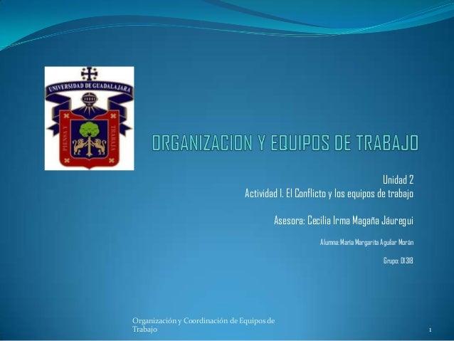 Unidad 2 Actividad I. El Conflicto y los equipos de trabajo Asesora: Cecilia Irma Magaña Jáuregui Alumna: María Margarita ...