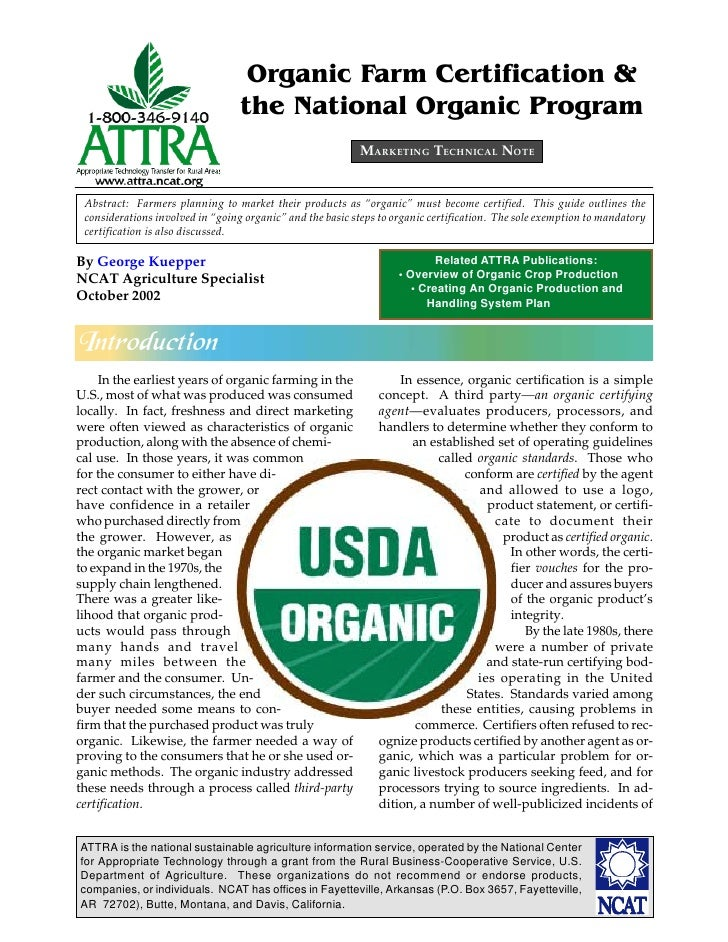 Organic Farm Certification &                                  the National Organic Program                                ...