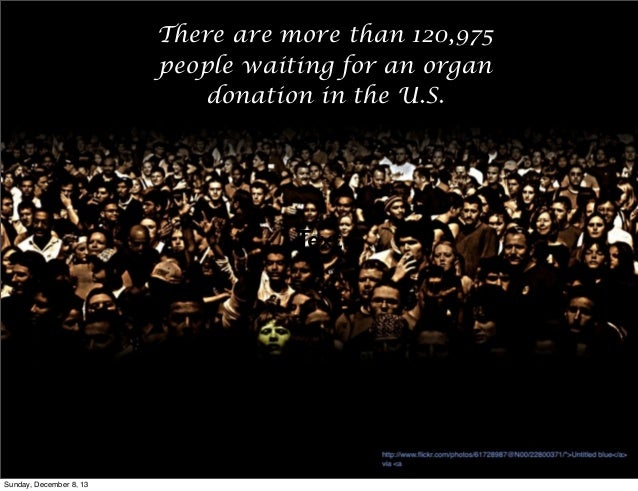 There are more than 120,975 people waiting for an organ donation in the U.S.  Text  Sunday, December 8, 13