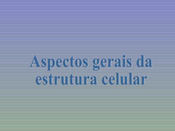 Aspectos gerais da estrutura celular
