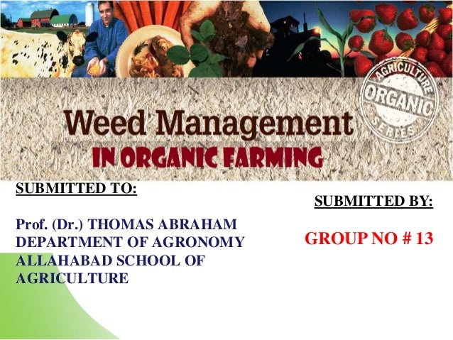 SUBMITTED TO: Prof. (Dr.) THOMAS ABRAHAM DEPARTMENT OF AGRONOMY ALLAHABAD SCHOOL OF AGRICULTURE SUBMITTED BY: GROUP NO # 13