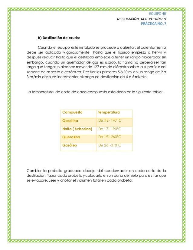 EQUIPO 4B DESTILACIÓN DEL PETRÓLEO PRÁCTICA NO. 7 b) Destilación de crudo: Cuando el equipo esté instalado se procede a ca...
