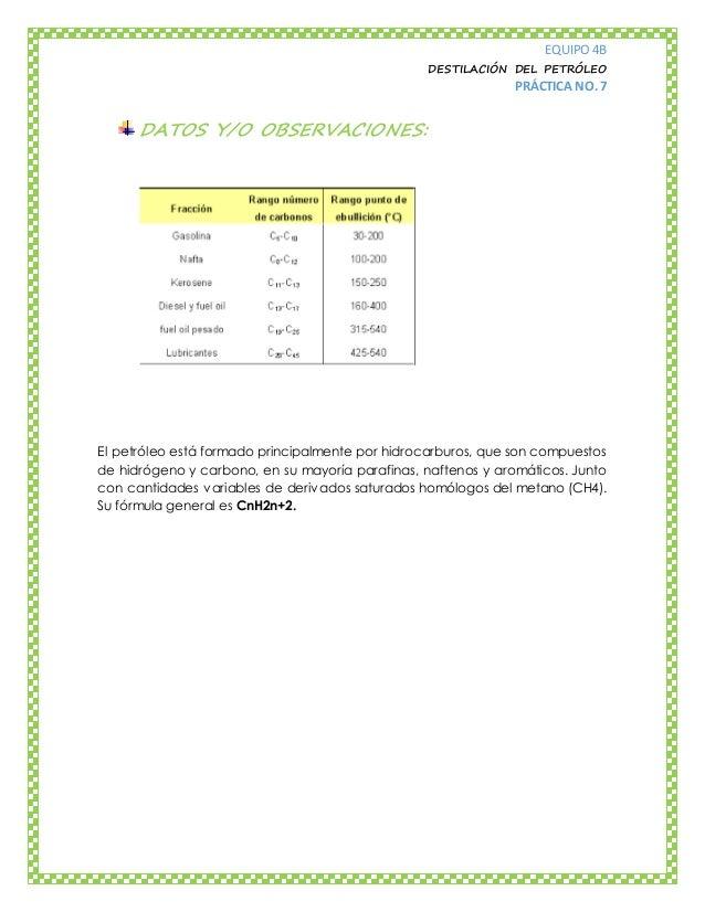 EQUIPO 4B DESTILACIÓN DEL PETRÓLEO PRÁCTICA NO. 7 DATOS Y/O OBSERVACIONES: El petróleo está formado principalmente por hid...