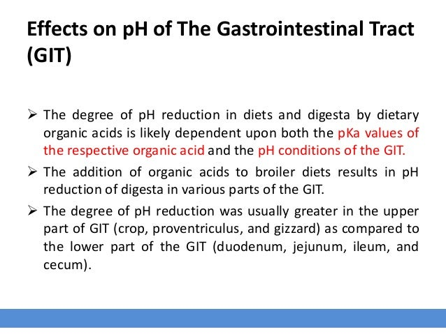 Effects on pH of The Gastrointestinal Tract (GIT)  The degree of pH reduction in diets and digesta by dietary organic aci...