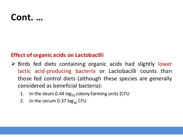 Cont. … Effect of organic acids on Lactobacilli  Birds fed diets containing organic acids had slightly lower lactic acid-...
