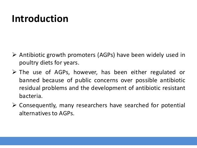 Introduction  Antibiotic growth promoters (AGPs) have been widely used in poultry diets for years.  The use of AGPs, how...