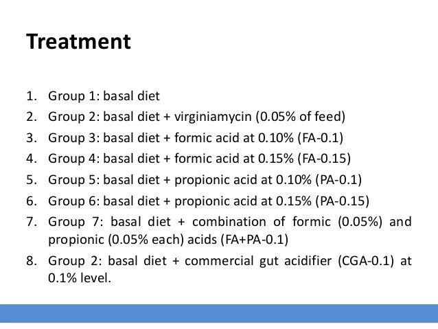 Treatment 1. Group 1: basal diet 2. Group 2: basal diet + virginiamycin (0.05% of feed) 3. Group 3: basal diet + formic ac...