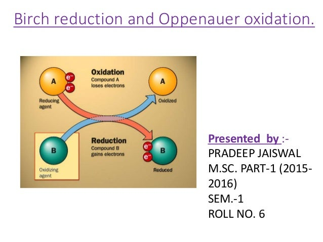 Birch reduction and Oppenauer oxidation. Presented by :- PRADEEP JAISWAL M.SC. PART-1 (2015- 2016) SEM.-1 ROLL NO. 6