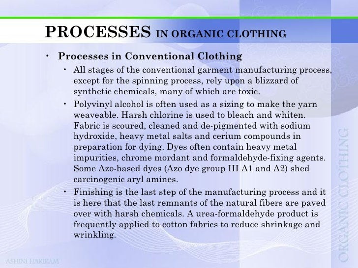 PROCESSES IN ORGANIC CLOTHING
