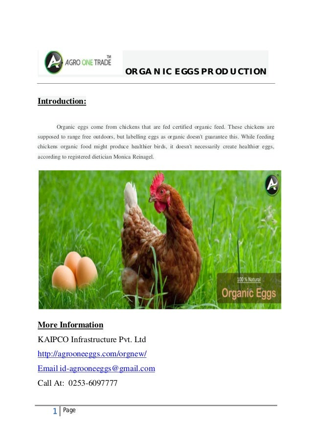 1 Page ORGANIC EGGS PRODUCTION Introduction: Organic eggs come from chickens that are fed certified organic feed. These ch...