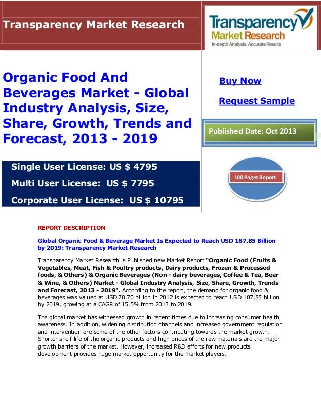 Transparency Market Research  Organic Food And Beverages Market - Global Industry Analysis, Size, Share, Growth, Trends an...