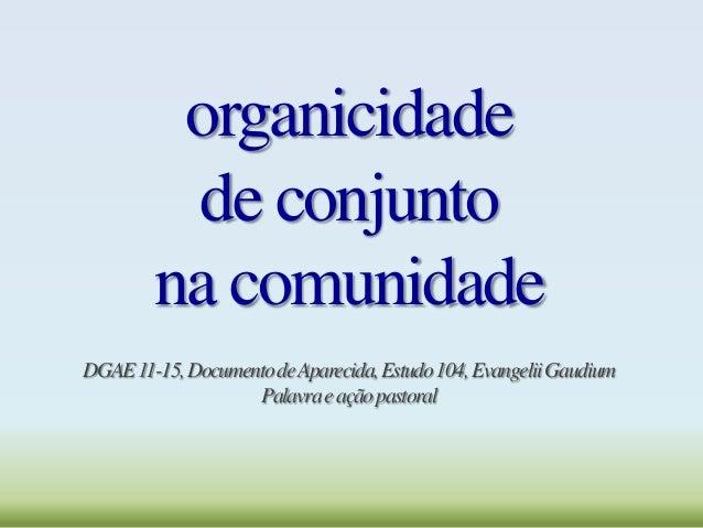 organicidade de conjunto na comunidade DGAE11-15,DocumentodeAparecida,Estudo104,EvangeliiGaudium Palavraeaçãopastoral