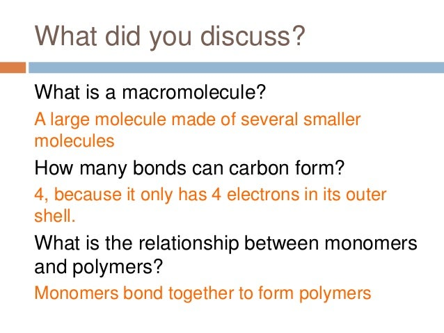 relationship between macromolecules polymers and monomers table