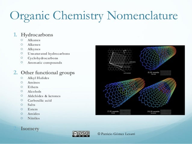 Organic Chemistry Nomenclature 1. Hydrocarbons o Alkanes o Alkenes o Alkynes o Unsaturated hydrocarbons o Cyclohydrocarbon...
