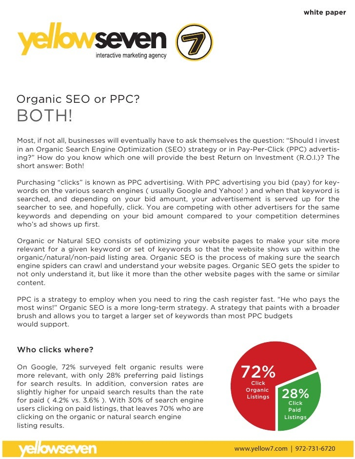 white paper    yellowseven Organic SEO or PPC? BOTH! Most, if not all, businesses will eventually have to ask themselves t...