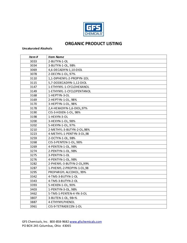 GFS Chemicals Organic Chemical Product Listing