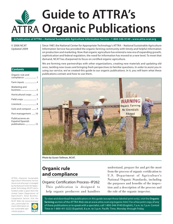 Guide to ATTRA's                                            Organic Publications   A Publication of ATTRA—National Sustain...