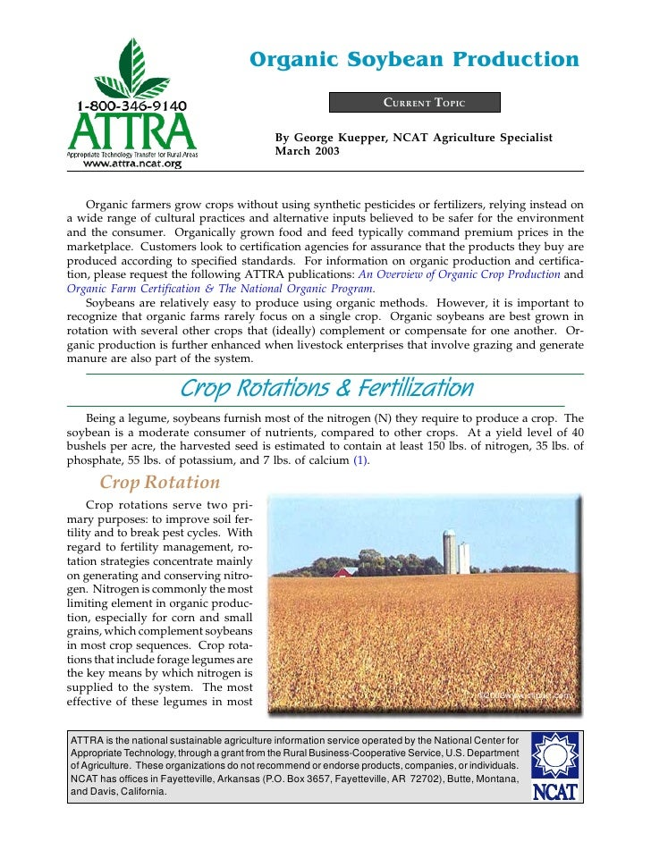 Organic Soybean Production                                                                      CURRENT TOPIC             ...