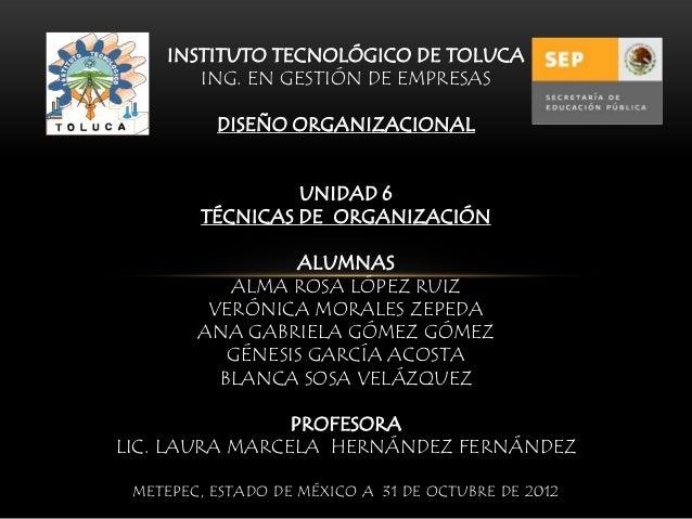INSTITUTO TECNOLÓGICO DE TOLUCA        ING. EN GESTIÓN DE EMPRESAS          DISEÑO ORGANIZACIONAL                 UNIDAD 6...