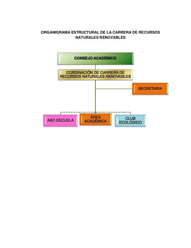 ORGANIGRAMA ESTRUCTURAL DE LA CARRERA DE RECURSOS NATURALES RENOVABLES  CONSEJO ACADÉMICO  CORDINACIÓN DE CARRERA DE RECUR...