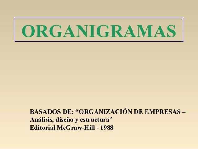 """ORGANIGRAMASBASADOS DE: """"ORGANIZACIÓN DE EMPRESAS –Análisis, diseño y estructura""""Editorial McGraw-Hill - 1988"""
