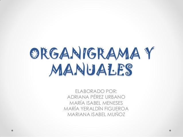 ORGANIGRAMA Y MANUALES ELABORADO POR: ADRIANA PÉREZ URBANO MARÍA ISABEL MENESES MARÍA YERALDÍN FIGUEROA MARIANA ISABEL MUÑ...