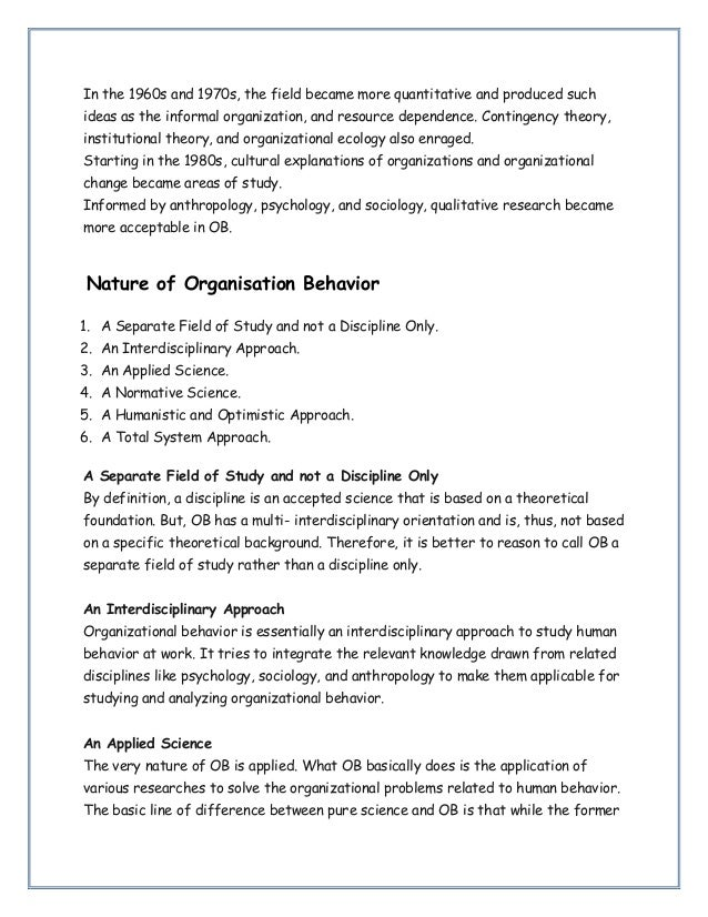 Notes on Organisation behavior (Introduction Of Organisation