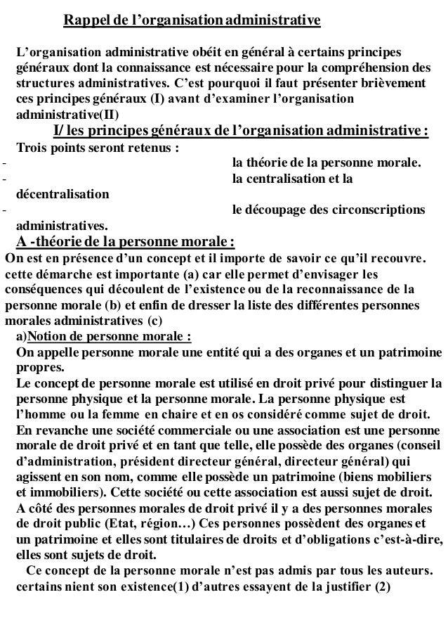 Rappel de l'organisationadministrative L'organisation administrative obéit en général à certains principes généraux dont l...