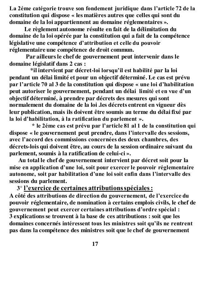 La 2éme catégorie trouve son fondement juridique dans l'article 72 de la constitution qui dispose « les matières autres qu...